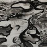 """""""Spiegelung im Wasser"""" - DIE GESELLEN, 2013, Tusche auf Japanpapier, 30*22cm"""