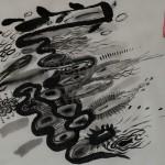 """""""Spiegelung im Wasser"""" FISCHE, 2013, Tusche auf Japanpapier, 30*22cm"""