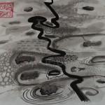 """""""Spiegelung im Wasser"""" LANDSCHAFT, 2013, Tusche auf Japanpapier, 30*22cm"""