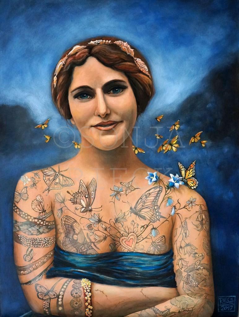 """TATTOO """"Schmetterlingsfrau"""" Öl auf Leinwand 80x60 cm 2017"""